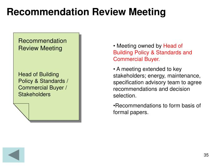 Recommendation Review Meeting
