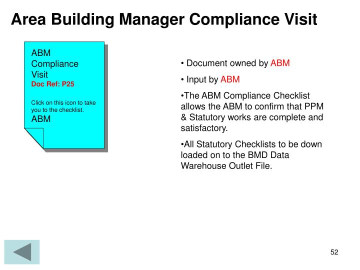 Area Building Manager Compliance Visit