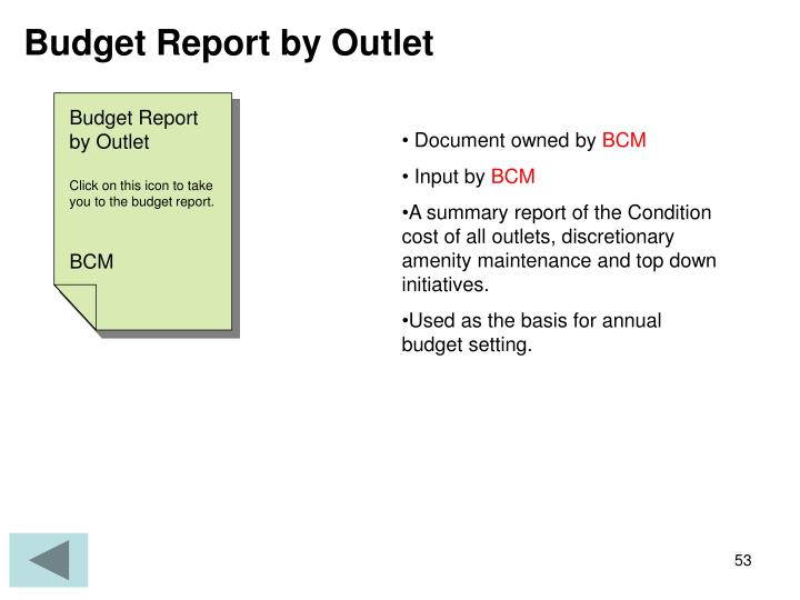 Budget Report by Outlet
