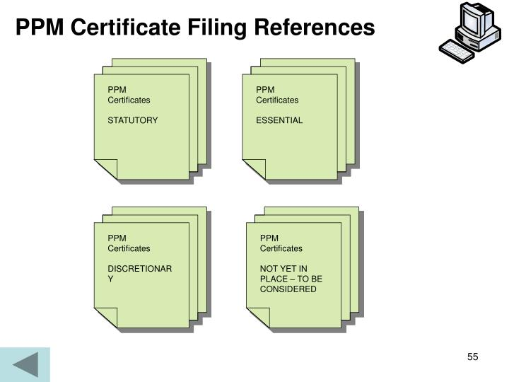 PPM Certificate Filing References