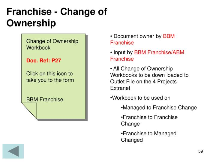 Franchise - Change of Ownership