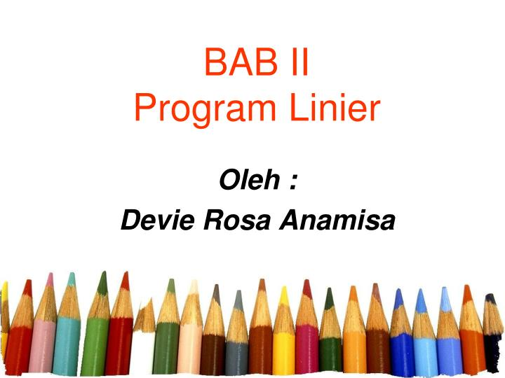 Bab ii program linier