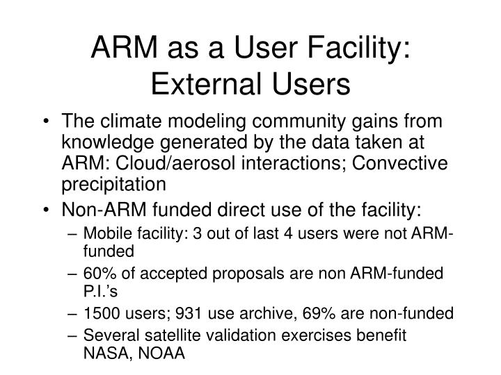 ARM as a User Facility: External Users
