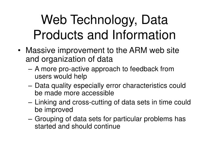 Web Technology, Data Products and Information