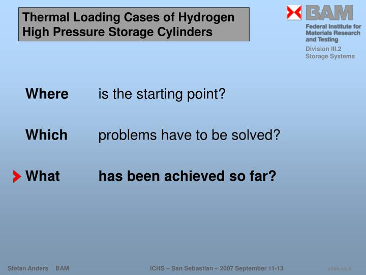 Thermal Loading Cases of Hydrogen High Pressure Storage Cylinders
