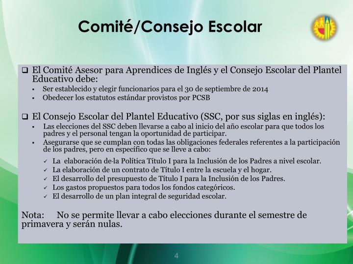 Comité/Consejo Escolar