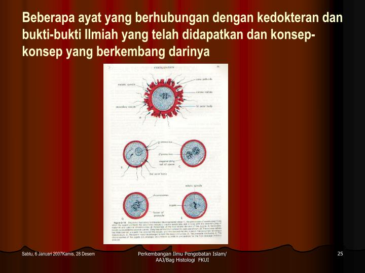 Beberapa ayat yang berhubungan dengan kedokteran dan bukti-bukti Ilmiah yang telah didapatkan dan konsep-konsep yang berkembang darinya