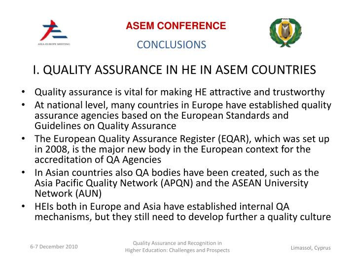 I quality assurance in he in asem countries