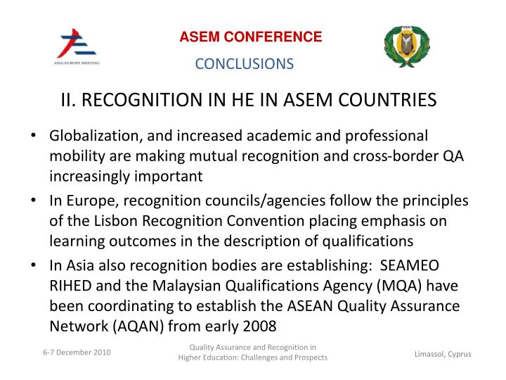 II. RECOGNITION IN HE IN ASEM COUNTRIES