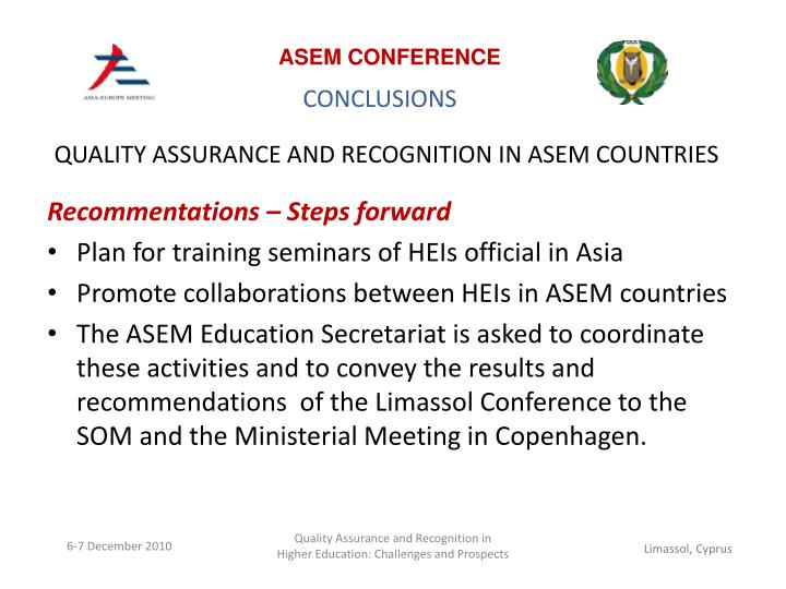 QUALITY ASSURANCE AND RECOGNITION IN ASEM COUNTRIES