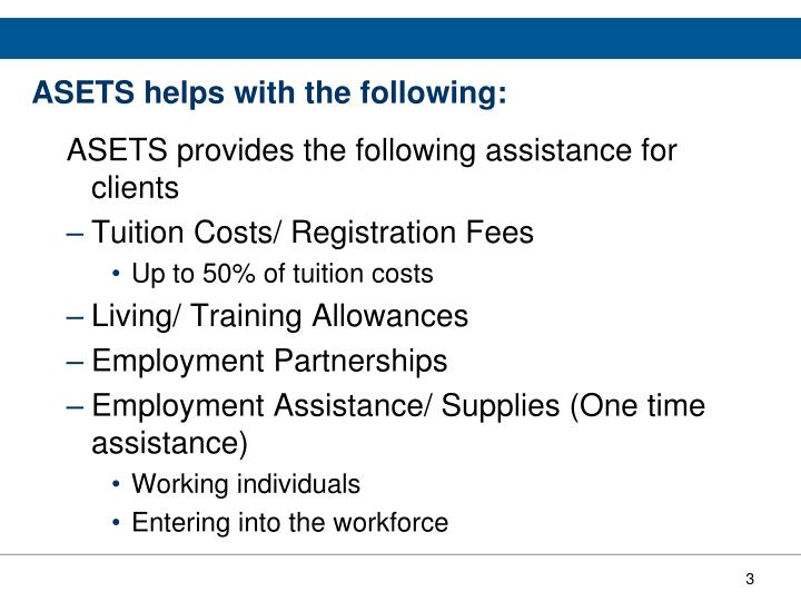 Asets helps with the following