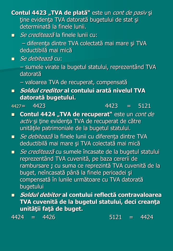"""Contul 4423 """"TVA de plată"""""""