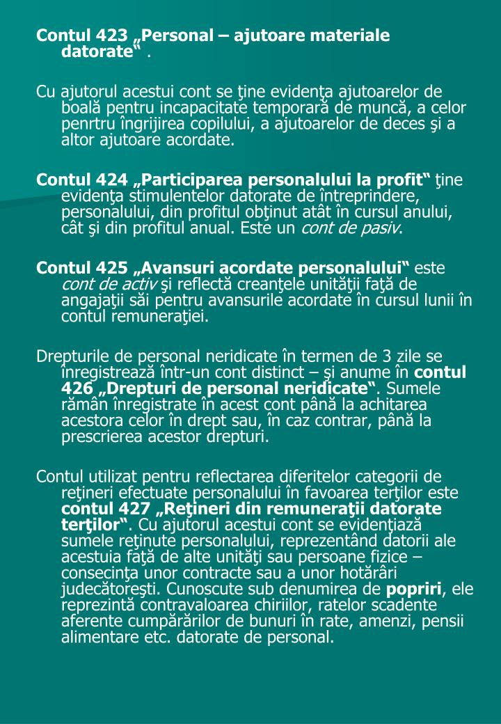"""Contul 423 """"Personal – ajutoare materiale datorate"""""""