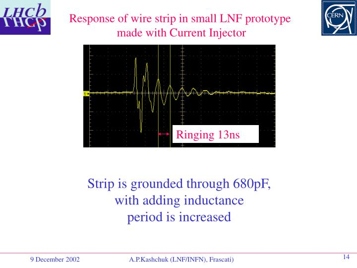 Response of wire strip in small LNF prototype