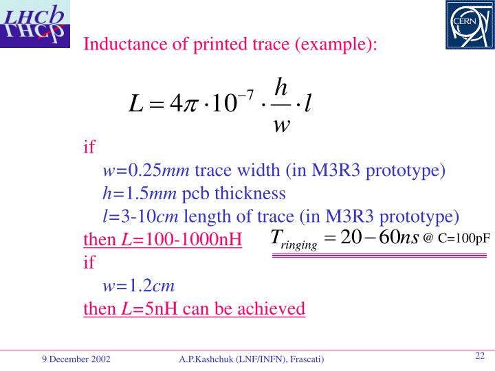 Inductance of printed trace (example):