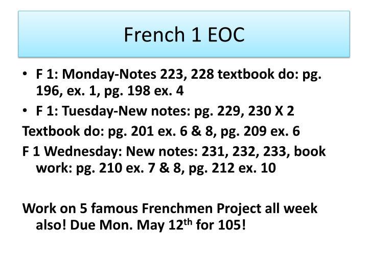 French 1 EOC