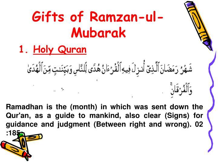 Gifts of Ramzan-ul-Mubarak