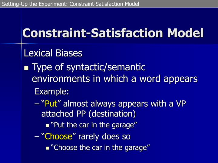 Setting-Up the Experiment: Constraint-Satisfaction Model