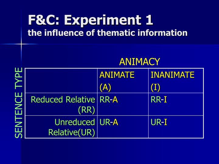 F&C: Experiment 1
