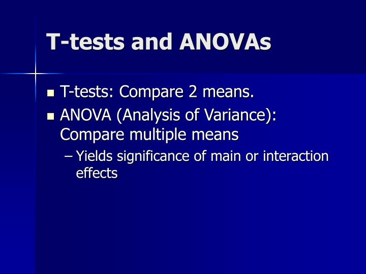 T-tests and ANOVAs
