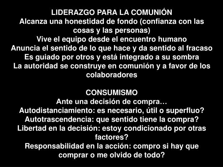 LIDERAZGO PARA LA COMUNIÓN