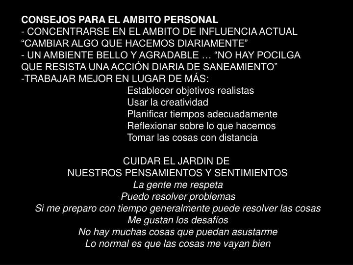CONSEJOS PARA EL AMBITO PERSONAL
