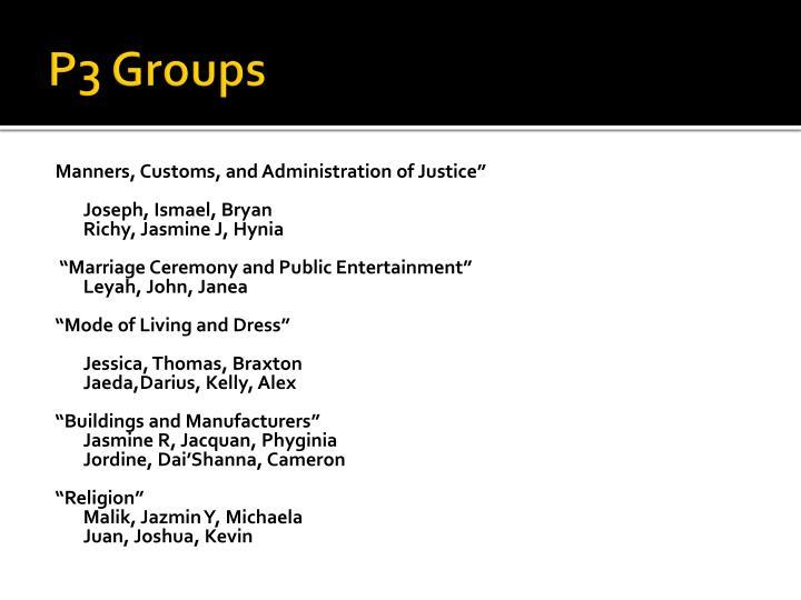 P3 Groups