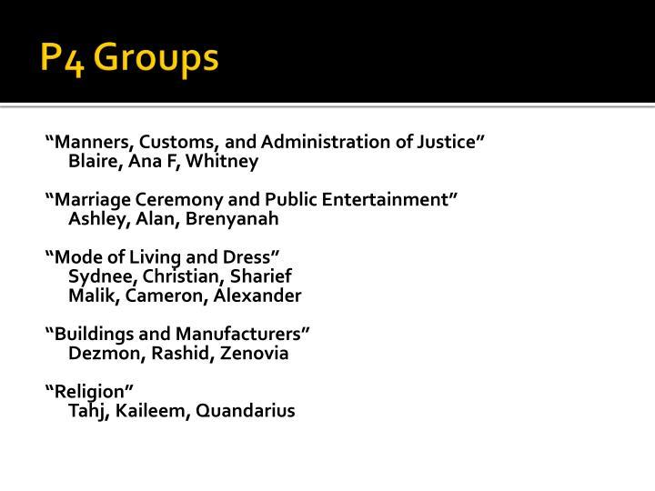 P4 Groups
