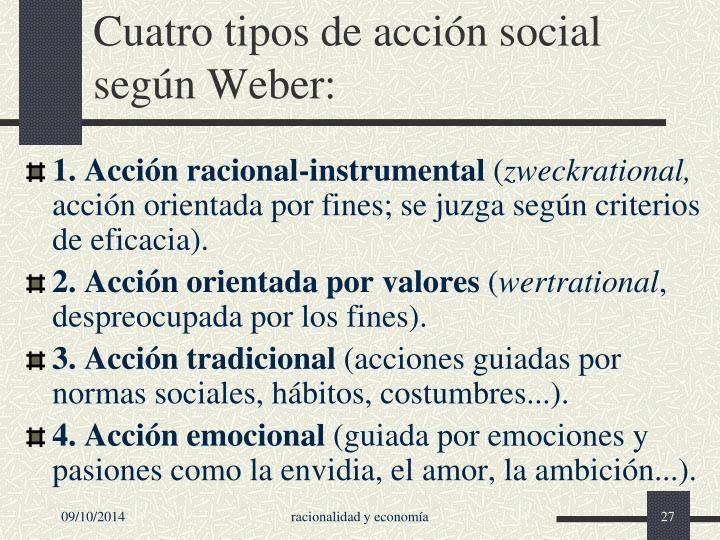 Cuatro tipos de acción social según Weber: