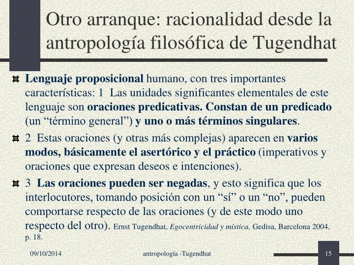 Otro arranque: racionalidad desde la antropología filosófica de Tugendhat