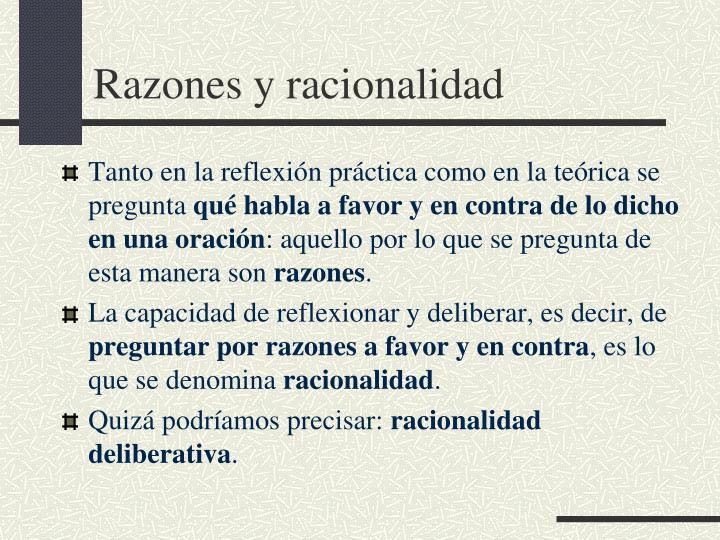 Razones y racionalidad