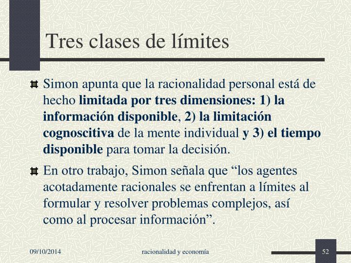 Tres clases de límites