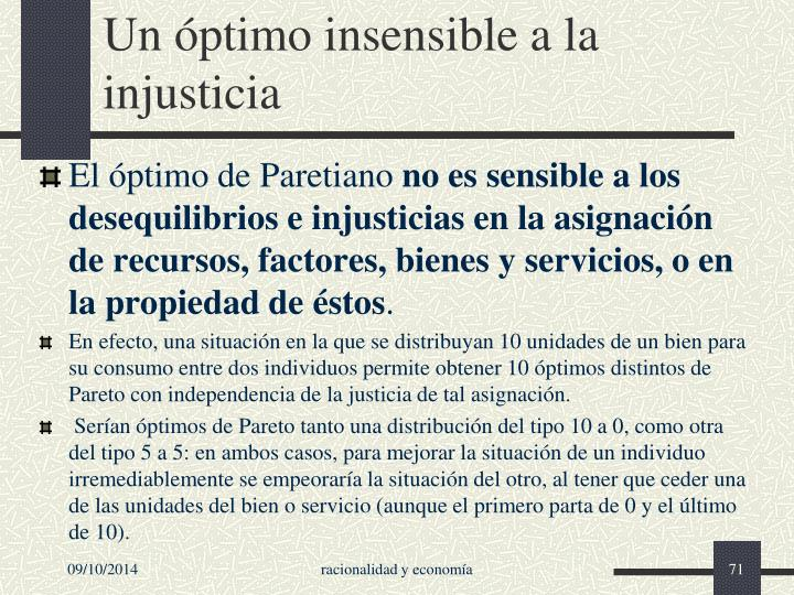 Un óptimo insensible a la injusticia