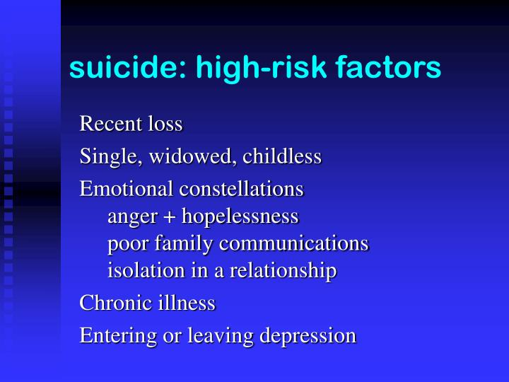 suicide: high-risk factors