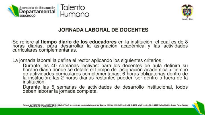 JORNADA LABORAL DE DOCENTES