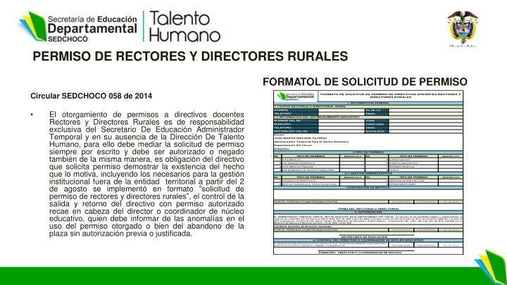 PERMISO DE RECTORES Y DIRECTORES RURALES