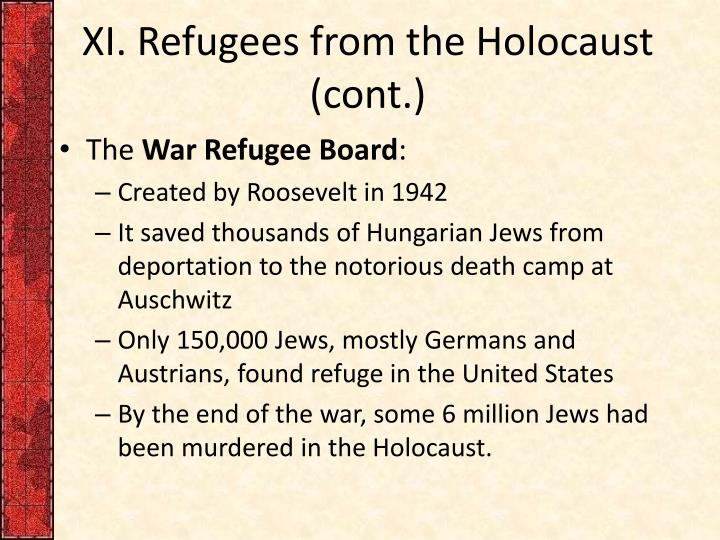XI. Refugees from the Holocaust