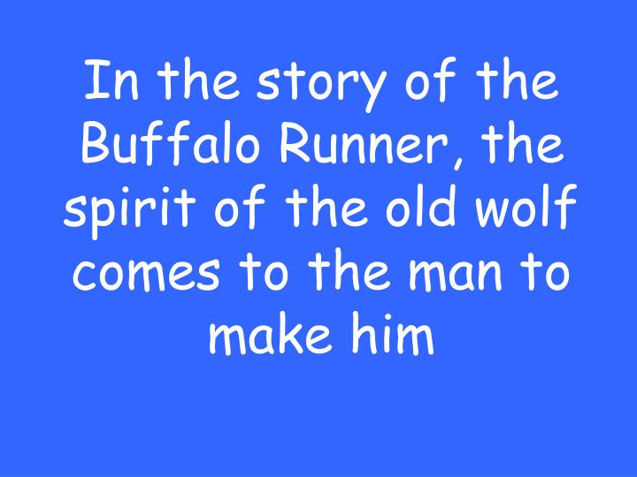 In the story of the Buffalo Runner, the spirit of the old wolf comes to the man to make him