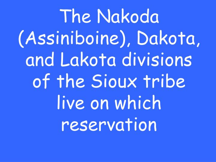 The Nakoda (Assiniboine), Dakota, and Lakota divisions of the Sioux tribe live on which reservation