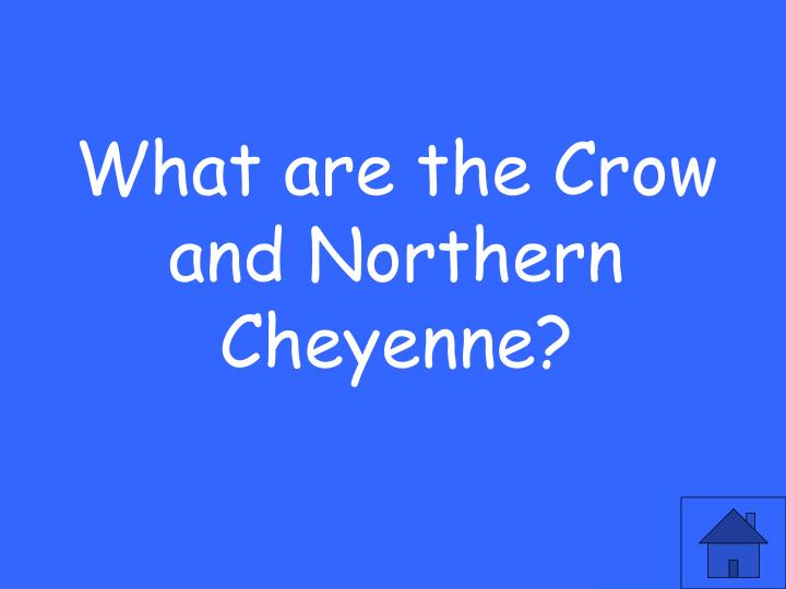 What are the Crow and Northern Cheyenne?