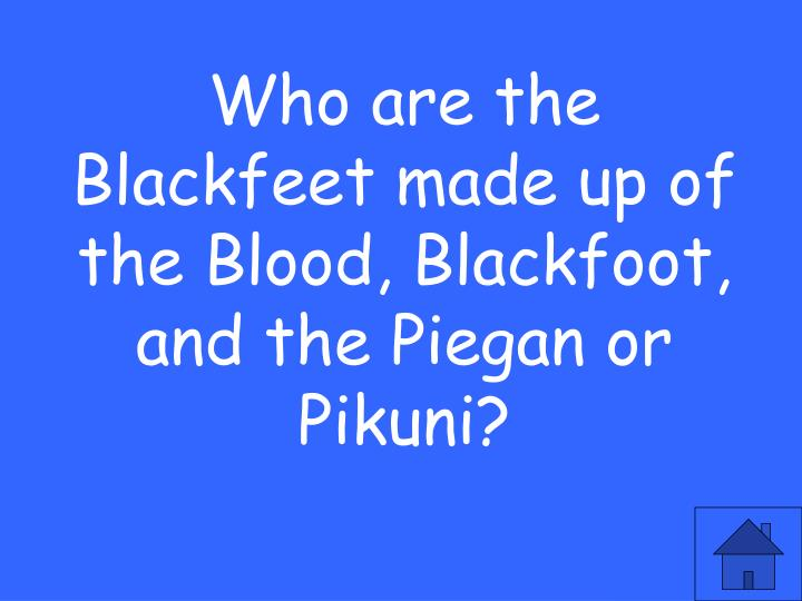 Who are the Blackfeet made up of the Blood, Blackfoot, and the Piegan or Pikuni?