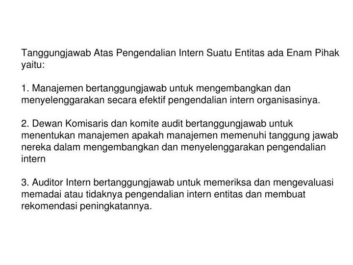 Tanggungjawab Atas Pengendalian Intern Suatu Entitas ada Enam Pihak yaitu: