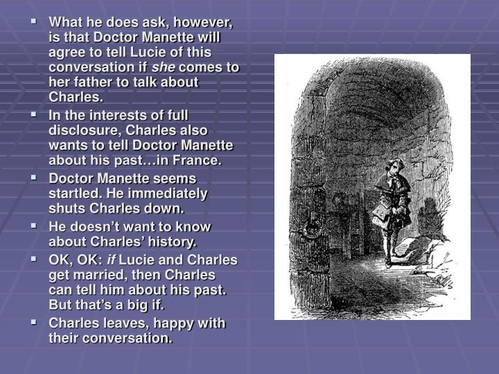 What he does ask, however, is that Doctor Manette will agree to tell Lucie of this conversation if