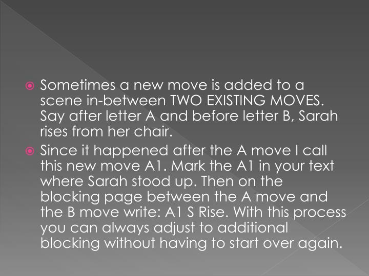 Sometimes a new move is added to a scene in-between TWO EXISTING MOVES. Say after letter A and before letter B, Sarah rises from her chair.