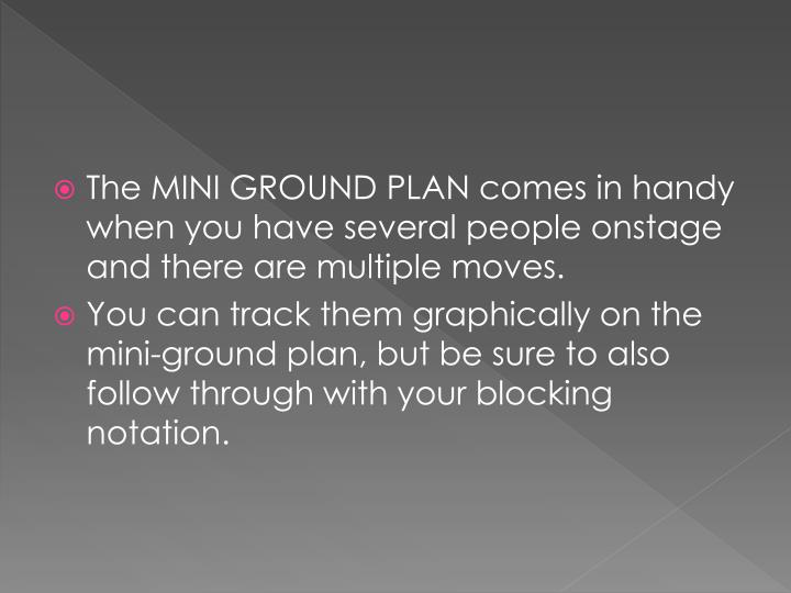 The MINI GROUND PLAN comes in handy when you have several people onstage and there are multiple moves.