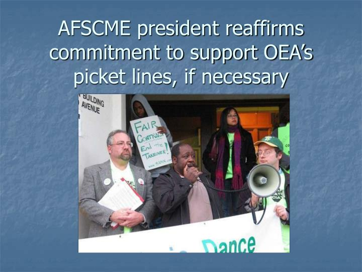 AFSCME president reaffirms commitment to support OEA's picket lines, if necessary