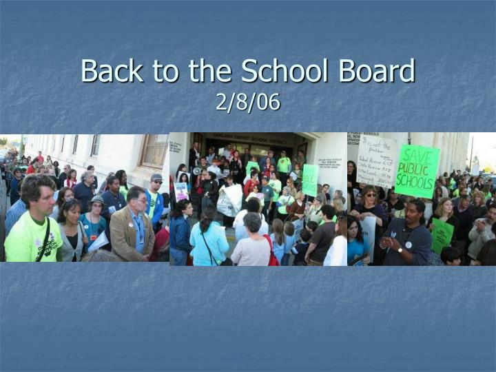Back to the School Board