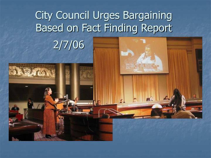 City Council Urges Bargaining