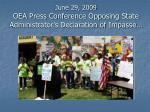 june 29 2009 oea press conference opposing state administrator s declaration of impasse