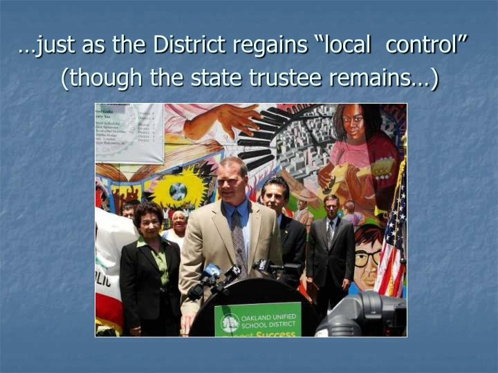 "…just as the District regains ""local  control"""